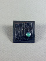 geometric brooch with chrysoprase