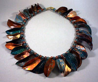 leaf-form collar with patinas