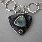 triangle leaf-imprint pendant w/ stones